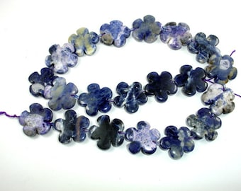 Sodalite Beads, 20 x 20 mm Flower Beads, 15.5 Inch, Full strand, Approx 19 beads, Hole 1 mm (411036003)
