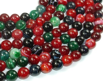 Banded Agate Beads, Multi Colored, 10mm Round Beads, 15 Inch, Full strand, Approx 38 beads, Hole 1mm, A quality (132054026)