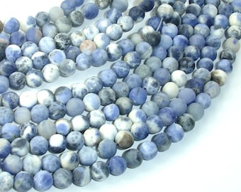 Matte Sodalite Beads, 6mm (6.5mm) Round Beads, 15 Inch, Full strand, Approx 61 beads, Hole 1mm (411054019)
