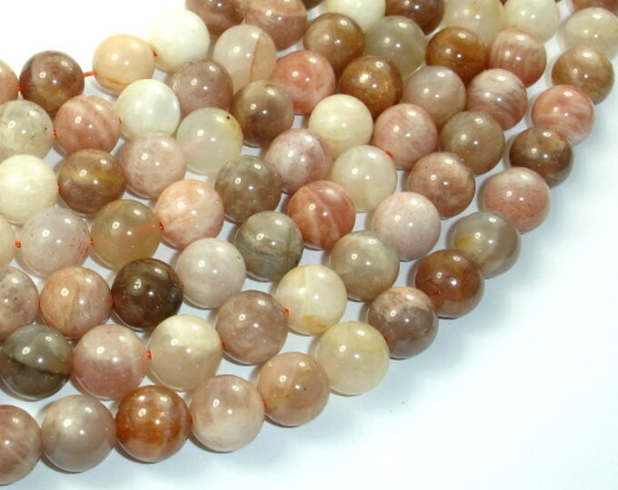Peach / Gray Mix Moonstone, 10mm Round Beads, 15.5 Inch, Full strand, Approx 39 beads, Hole 1 mm (321054023)