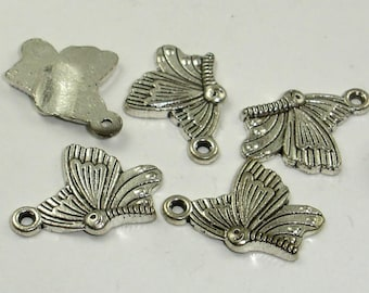 Butterfly Charms, Zinc Alloy, Antique Silver Tone, 14x20 mm, 20 pcs, Hole 1.4mm (006873008)