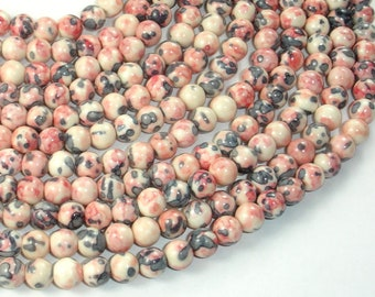 Rain Flower Stone Beads, Pink, Gray, 6mm (6.5mm) Round Beads, 15.5 Inch, Full strand, Approx 65 beads, Hole 1mm, A quality (377054038)