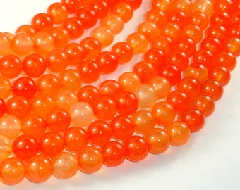 Agate Beads-Orange, 8mm(8.3mm) Round Beads, 15.5 Inch, Full strand, Approx 48 beads, Hole 1mm (122054242)