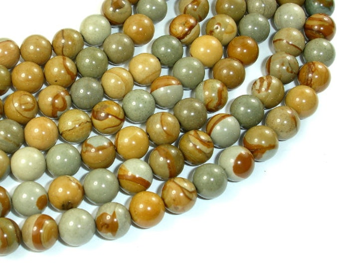 Wild Horse Picture Jasper, Owyhee Picture Jasper, 8 mm Round Beads, 16 Inch, Full strand, Approx 49 beads, Hole 1 mm,AA quality(337054002)