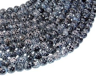 Black Crackle Agate, 8mm(7.8mm) Faceted Round Beads, 14 Inch, Full strand, Approx 48 beads, Hole 1mm (122025077)