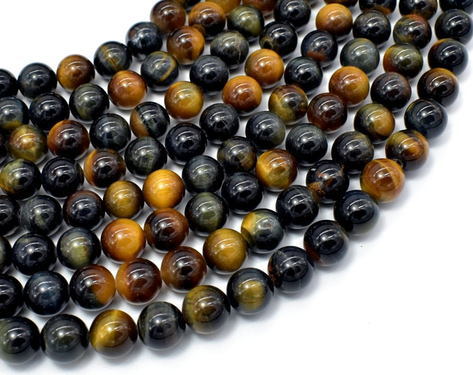 Blue / Yellow Tiger Eye, 8mm (8.3mm) Round Beads, 15.5 Inch, Full strand, Approx 49 beads, Hole 0.8mm, A+ quality (426054037)