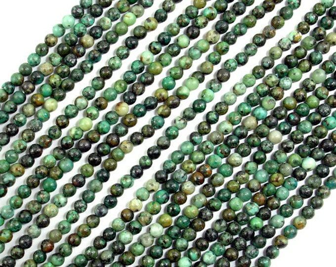 African Turquoise Beads, Round, 2mm (2.3 mm), 16 Inch, Approx 190 beads, Hole 0.4 mm, A quality (110054005)