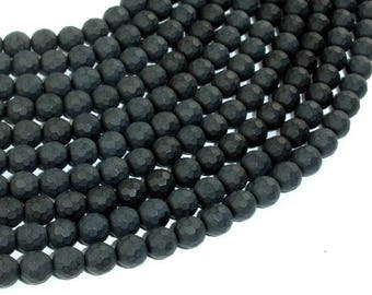 Matte Black Onyx Beads, 6mm Faceted Round, 15 Inch, Full strand, Approx 64 beads, Hole 1 mm, AA quality (140025012)