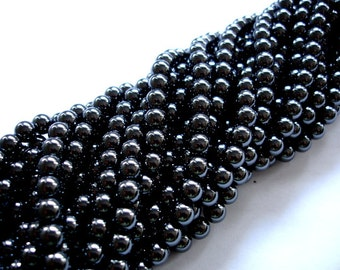 Hematite Beads, Round, 6mm, 16 Inch, Full strand, Approx 70 beads, Hole 1mm (269054004)