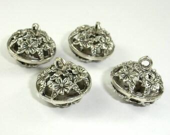 Metal Charms, Hollow Metal Pendant, Zinc Alloy, Antique Silver Tone, 2pcs, 19x12 mm, Hole 2.5mm (006873017)