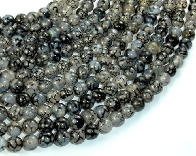 Dragon Vein Agate Beads, Black & White, 6mm(6.4mm) Round Beads, 15 Inch, Full strand, Approx 63 beads, Hole 1mm (122054225)