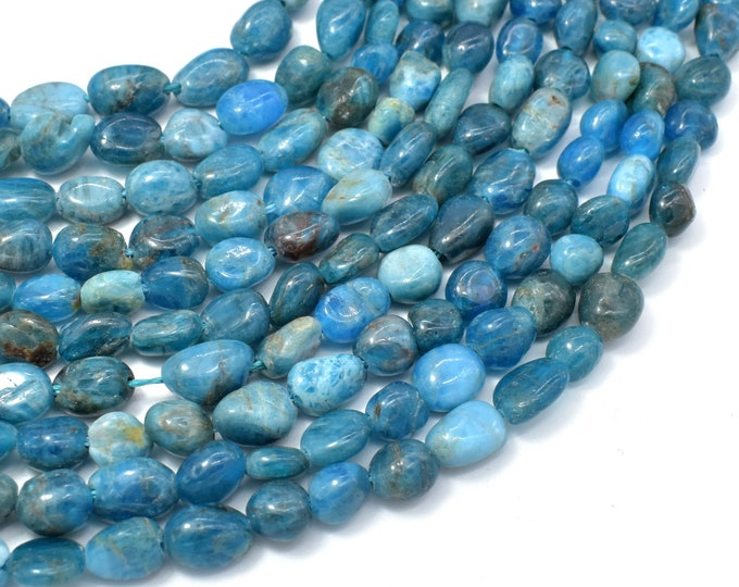 Apatite, 6x8mm Nugget Beads, 16 Inch, Full strand, Approx 48-50 beads, Hole 1mm (120047003)