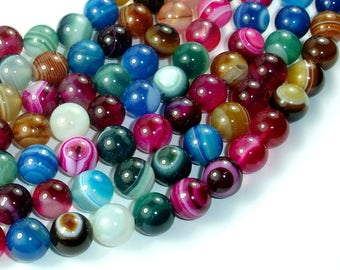 Banded Agate Beads, Striped Agate, Multi Colored, 10mm Round Beads, 15 Inch, Full strand, Approx 38 beads, Hole 1mm, A quality (132054032)