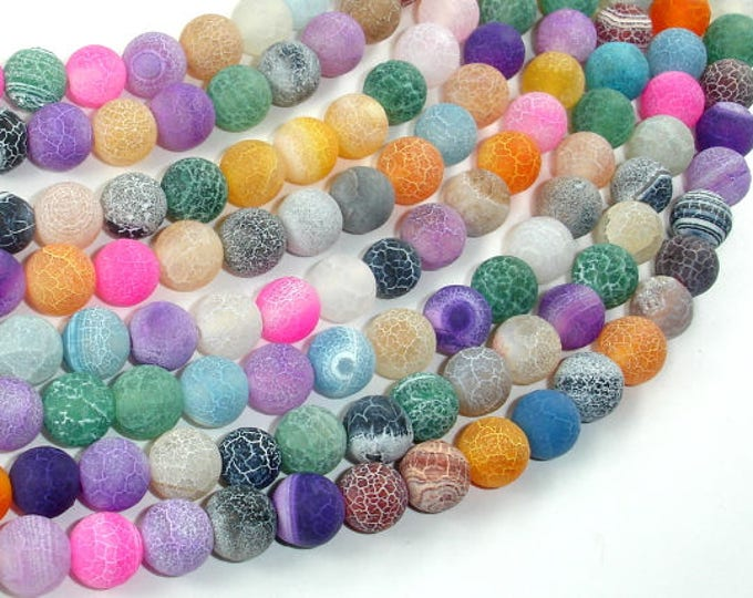 Frosted Matte Agate - Multi Color, 8mm Round Beads, 15 Inch, Full strand, Approx 48 beads, Hole 1 mm (122054181)