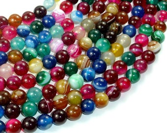 Banded Agate Beads, Striped Agate, Multi Colored, 8mm Round Beads, 15.5 Inch, Full strand, Approx 48 beads, Hole 1mm, A quality (132054031)