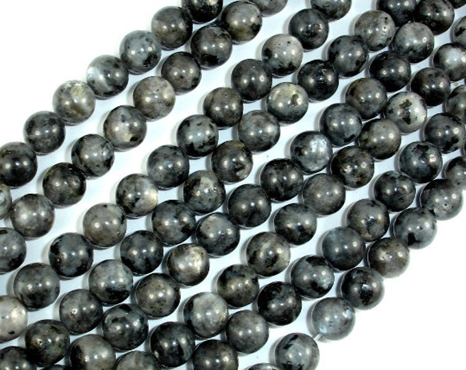 Black Labradorite Beads, Larvikite, 8mm(8.5mm) Round Beads, 15.5 Inch, Full strand, Approx 47 beads, Hole 1mm (137054003)