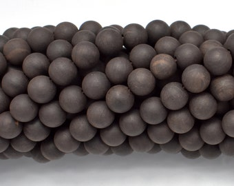 Matte Black Sandalwood Beads, 8mm Round, 35 Inch, Full strand, Approx 108 Beads, Mala Beads (011732004)