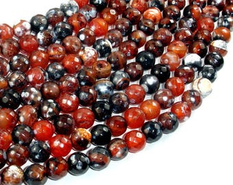 Fire Agate Beads, 8mm Faceted Round, 14.5 Inch, Full strand, Approx 47 beads, Hole 1 mm (122025298)