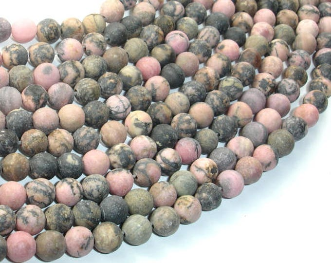 Matte Rhodonite Beads, 6mm (6.5mm) Round Beads, 15 Inch, Full strand, Approx 60 beads, Hole 1mm (386054014)