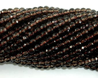 Smoky Quartz, 4mm Faceted Round Beads, 15 Inch, Full strand, Approx 96 beads, Hole 0.8 mm, A quality (408025013)