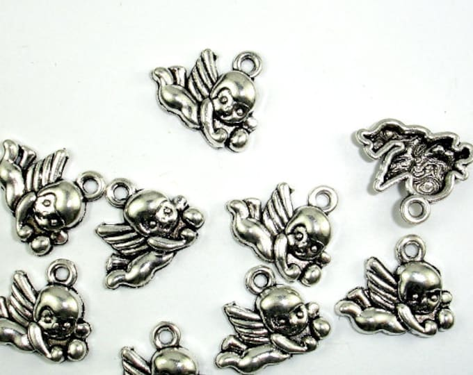 Cupid Charms, Zinc Alloy, Antique Silver Tone, 16x13mm, 20 pcs, Hole 1.8 mm (006873067)