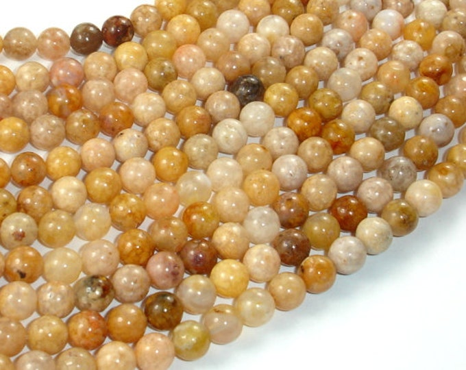 Pink Moss Agate Beads, 6mm (6.5mm) Round Beads, 15.5 Inch beads, Full strand, Approx 62 beads, Hole 1mm (374054001)