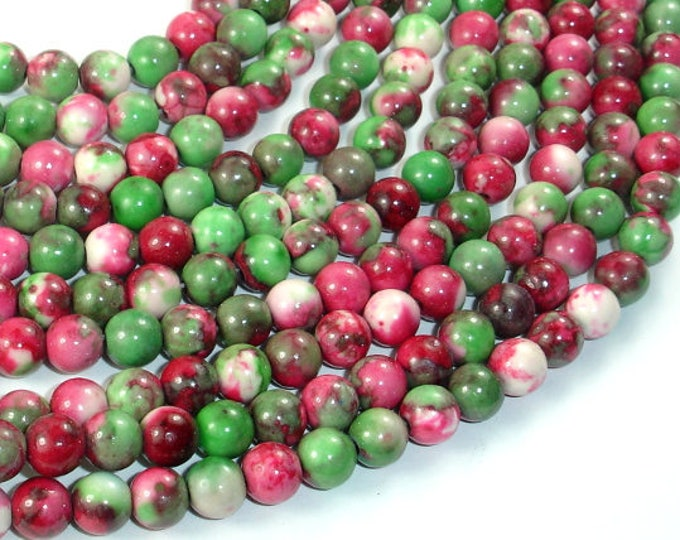 Rain Flower Stone Beads, Red, Green, 6mm (6.5mm) Round Beads, 15.5 Inch, Full strand, Approx 64 beads, Hole 1mm, A quality (377054027)