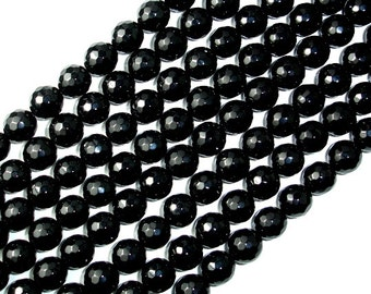 Black Onyx Beads, Faceted Round, 10mm, 15 Inch, Full strand, Approx 38 beads, Hole 1 mm, AA quality (140025003)