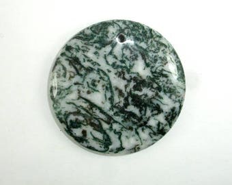 Tree Agate Pendant, Coin Beads, 50mm, 1 piece, Hole 2.5 mm, A quality (428008002)