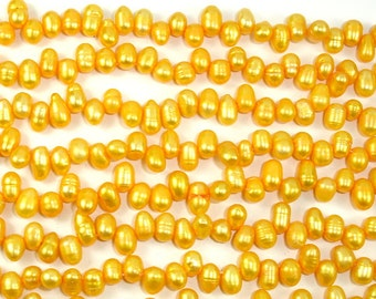 Fresh Water Pearl Beads, Gold, Top drilled, Dancing, (4-5)x(6-7) mm, 14.5 inch , Full strand, Approx 85 beads, Hole 0.4 mm (228012017)
