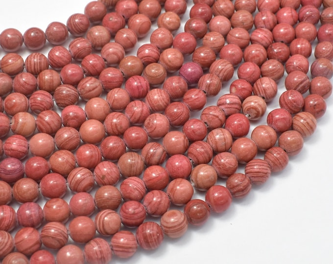 Pink Banded Jasper, 6mm Round Beads, 15 Inch, Full strand, Approx 64 beads, Hole 1mm (288054043)