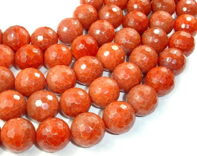 Red Dragon Vein Agate Beads, 18 mm Faceted Round, 14 Inch, Full strand, Approx 20 beads, Hole 1.8 mm (122025166)