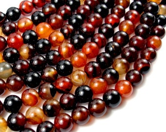 Sardonyx Agate Beads, 8mm Round Beads, 15 Inch, Full strand, Approx 47 beads, Hole 1 mm (397054005)