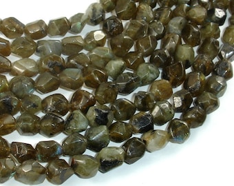 Labradorite Beads, 8x10mm Faceted Nugget Beads, 15.5 Inch, Full strand, Approx 45 beads, Hole 1mm (295020003)
