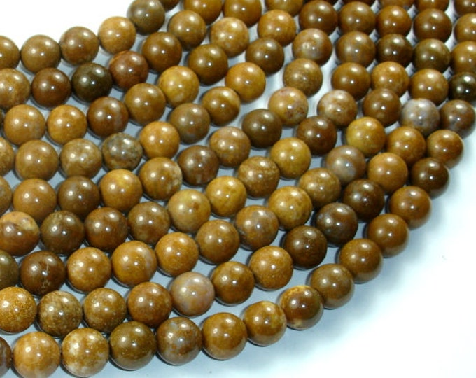 Agate Beads-Brown, 8mm(8.5mm) Round Beads, 15 Inch, Full strand, Approx 46 beads, Hole 1mm (122054283)