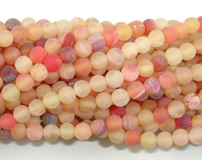 Frosted Matte Agate - Peach, 4mm(4.3mm) Round Beads, 15.5 Inch, Full strand, Approx 95 beads, Hole 0.8mm (122054258)