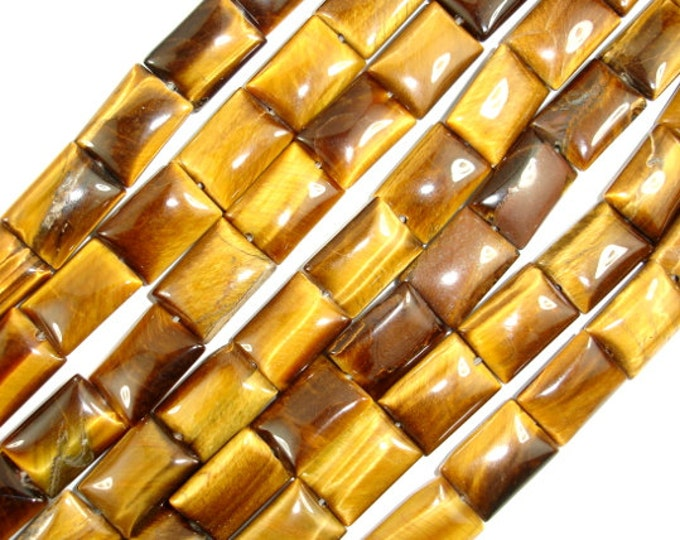 Yellow Tiger Eye Beads, 10x14mm Rectangle Beads, 16 Inch, Full strand, Approx 29 beads, Hole 1 mm (426033003)