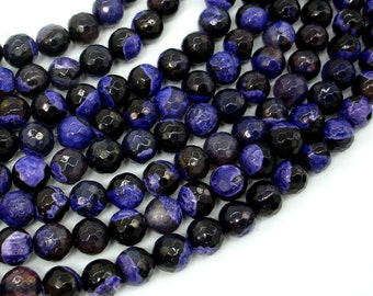 Agate Beads, Purple & Black, 8mm Faceted Round Beads, 15 Inch, Full strand, Approx 47 beads, Hole 1mm (122025319)