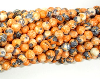 Rain Flower Stone Beads, Orange, 6mm (6.5mm) Round Beads, 15.5 Inch, Full strand, Approx 64 beads, Hole 1 mm, A quality (377054009)