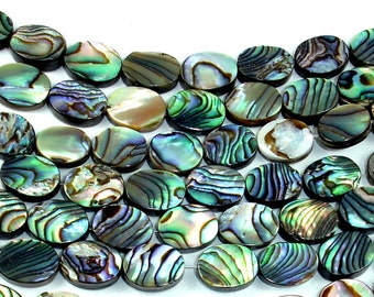 Abalone Beads, Oval, 8mm x 10mm, 16 inch, Full strand, Approx 38 beads, Hole 0.6 mm (101030008)
