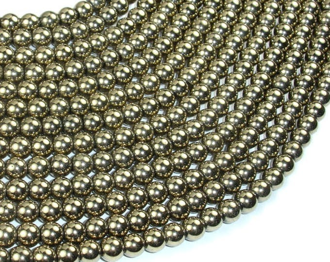 Hematite Beads-Light Gold, Pyrite Color, 6mm Round Beads, 16 Inch, Full strand, Approx 72 beads, Hole 1mm, AA quality (269054019)