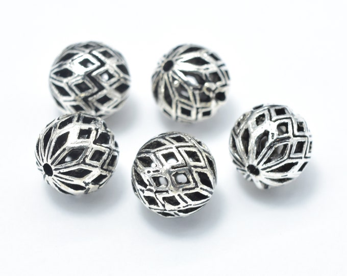2pcs 925 Sterling Silver Beads-Antique Silver, 8mm Round Beads, Spacer Beads, Hole 1mm (007903016)
