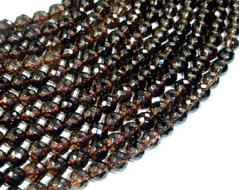 Smoky Quartz Beads, 6 mm Faceted Round Beads, 15 Inch, Full strand, Approx 63 beads, Hole 1 mm, AA quality (408025009)