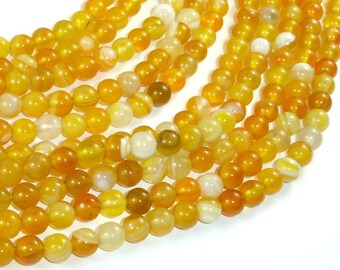 Banded Agate Beads, Yellow, 6mm Round Beads, 15 Inch, Full strand, Approx 62 beads, Hole 1mm, A quality (132054035)