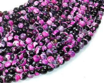 Agate Beads, Pink & Black, 6mm(6.3mm) Faceted Round Beads, 15 Inch, Full strand, Approx 63 beads, Hole 1mm (122025188)