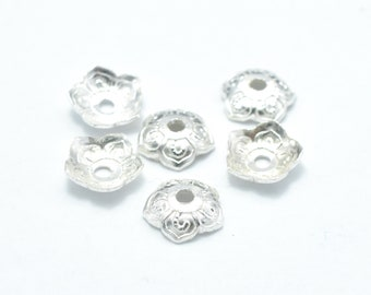 20pcs 5.6mm 925 Sterling Silver Bead Caps, 5.6x1.6mm Flower Bead Caps, Jewelry Findings, Hole 1mm (007902005)