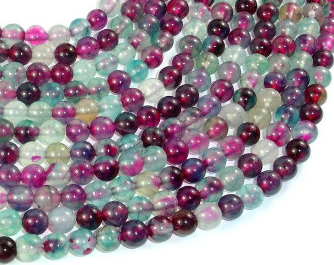Dragon Vein Agate Beads, Green & Fuchsia, 6mm Round Beads, 15 Inch, Full strand, Approx 63 beads, Hole 1mm, A quality (122054223)