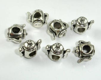 Kettle Spacer, Metal Beads, Large Hole Spacer, Zinc Alloy, Antique Silver Tone, 14x12x8mm, 10 pcs, Hole 4.5mm (006852058)
