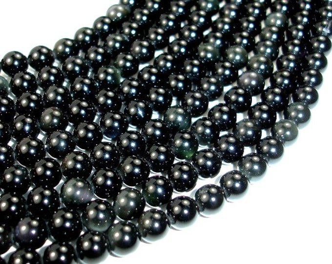 Rainbow Obsidian Beads, 6mm(6.5mm) Round Beads, 15.5 Inch, Full strand, Approx 65 beads, Hole 1 mm, A quality (366054001)