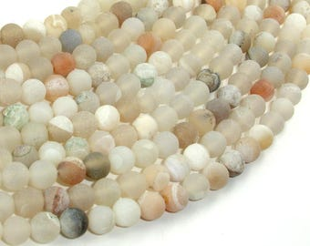 Druzy Agate Beads, Light Gray Geode Agate Beads, 6mm (6.3mm) Round Beads, 15 Inch, Full strand, Approx 62 beads, Hole 1mm (122054280)